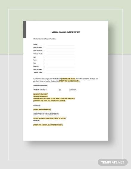 Autopsy Report Template - Word (Doc) | Google Docs | Apple inside Blank Autopsy Report Template
