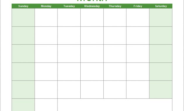 Blank Calendar Template - Free Printable Blank Calendars throughout Full Page Blank Calendar Template