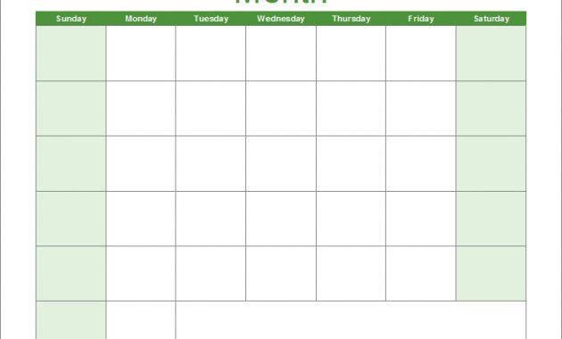 Blank Calendar Template - Free Printable Blank Calendars throughout Full Page Blank Calendar Template