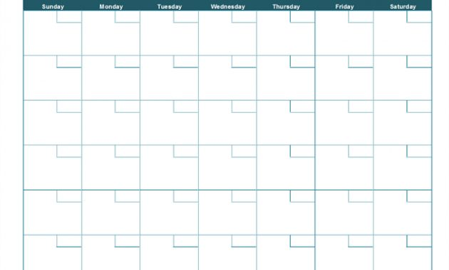 Blank Monthly Calendar inside Full Page Blank Calendar Template