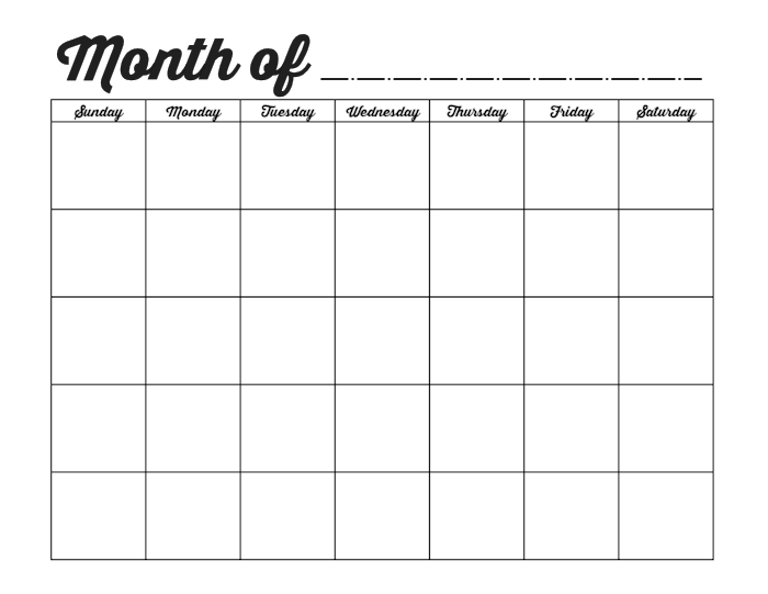 Family Binder Printables | Free Printable Calendar Monthly Within Full Page Blank Calendar Template