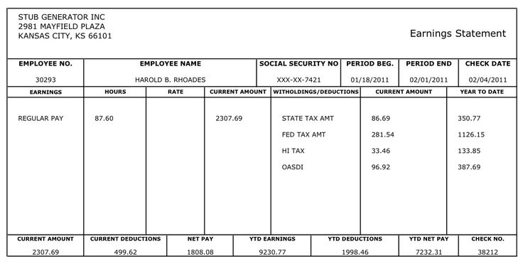 Free Printable Blank Paycheck Stubs   Here's An Example Of pertaining to Blank Pay Stubs Template