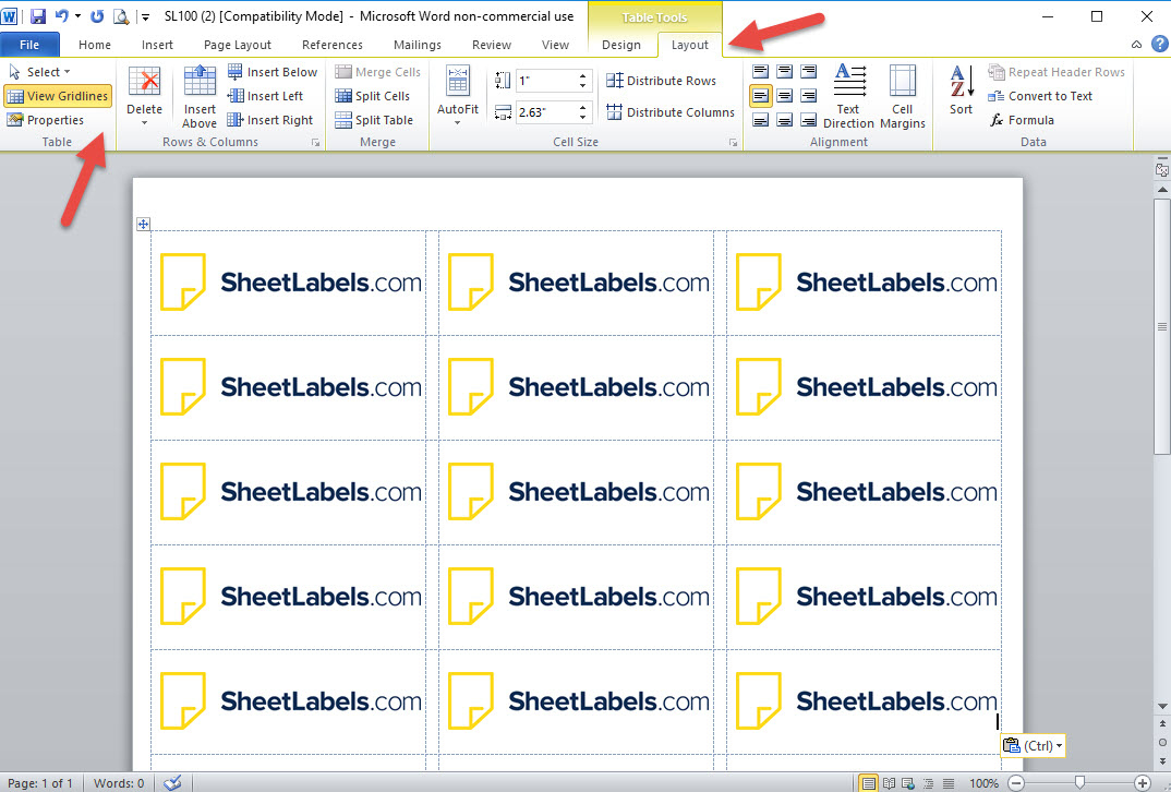 How To Turn On The Label Template Gridlines In Ms Word in Microsoft Word Sticker Label Template