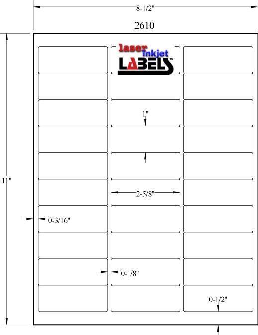 Pin On Label Template Throughout 1 X 2 5 8 Label Template