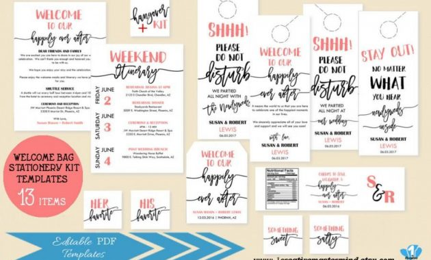 Welcome Bag Note Itinerary, Welcome Tag, Door Hangers, Water Pertaining To Door Label Template