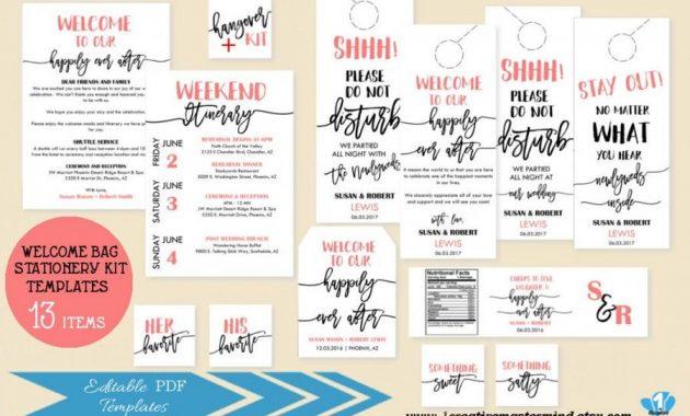 Welcome Bag Note Itinerary, Welcome Tag, Door Hangers, Water Pertaining To Door Label Template