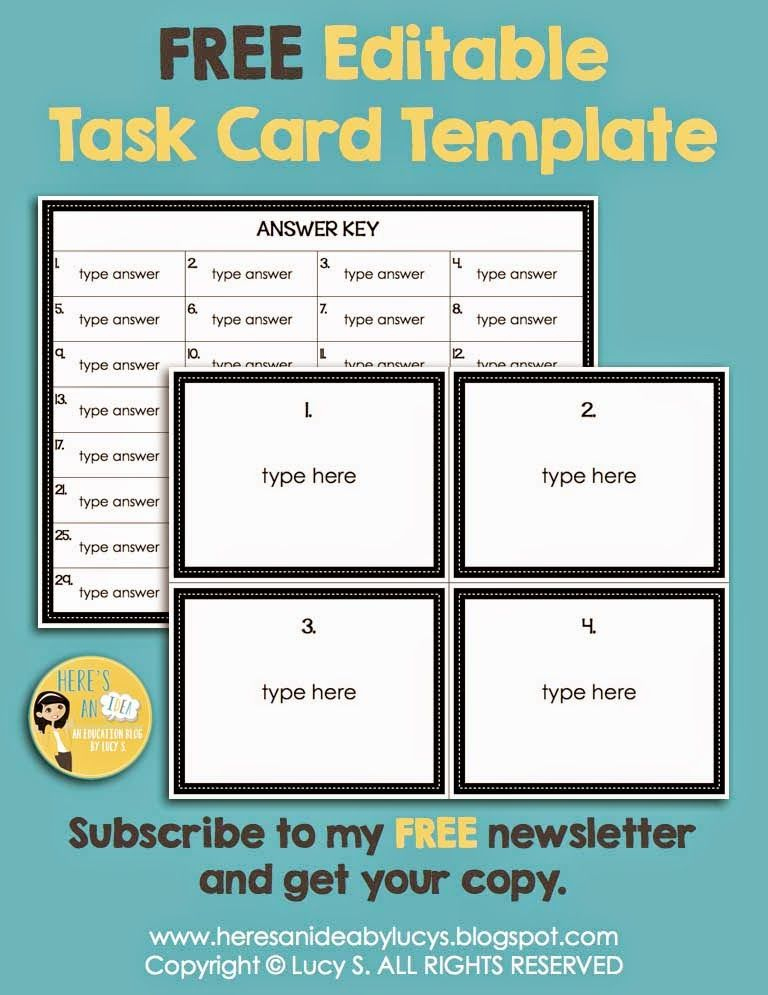 10+ Best Free Task Card Templates Images | Card Templates With Task Card Template