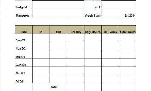 11+ Printable Time Card Templates – Doc, Excel, Pdf | Free within Weekly Time Card Template Free