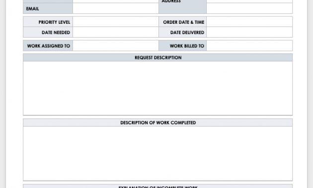 15 Free Work Order Templates   Smartsheet with Maintenance Job Card Template
