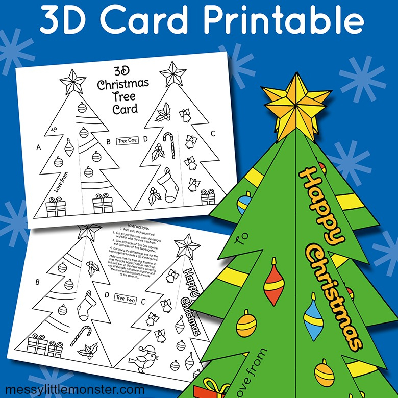 3D Christmas Tree Card Template – Messy Little Monster Within 3D Christmas Tree Card Template