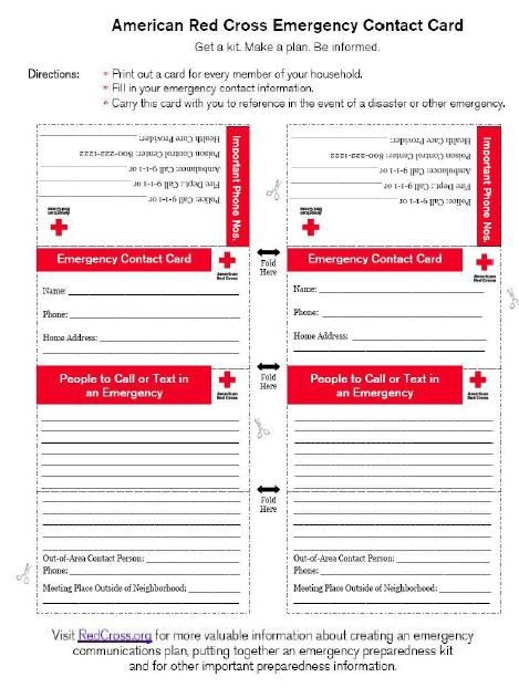 American Red Cross Emergency Contact Card - An Emergency Inside Emergency Contact Card Template