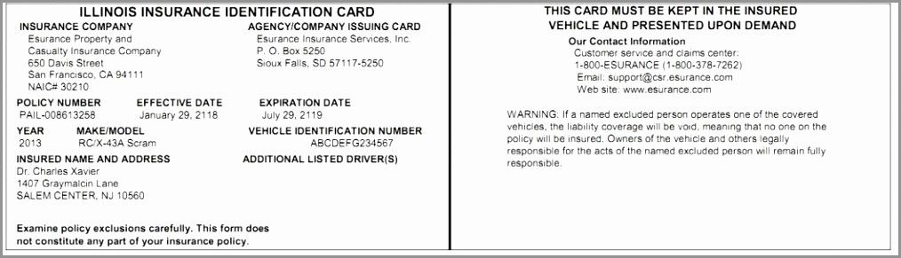 Auto Insurance Card Template Pdf Inspirational Illinois Fake Pertaining To Proof Of Insurance Card Template
