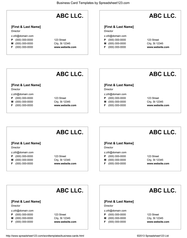 Business Card Templates For Word in Business Cards Templates Microsoft Word