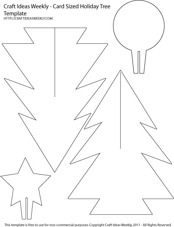 Card Sized Paper Christmas Tree Template | | Christmas Tree Within 3D Christmas Tree Card Template