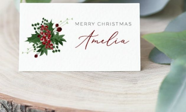 Christmas Place Cards Holiday Name Cards Editable Escort Cards Template  Instant Download Holly And Berries Printable Place Cards Table Card for Christmas Table Place Cards Template