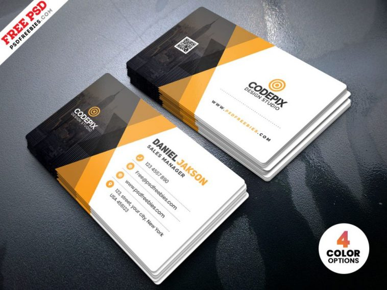 Corporate Business Card Template Psd – Free Download With Regard To Psd Name Card Template