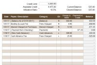 Credit Account Register Template with regard to Credit Card Bill Template