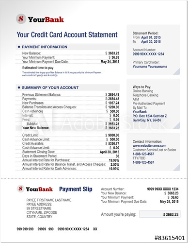 Credit Card Bank Account Statement Template – Kaufen Sie inside Credit Card Bill Template