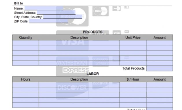 Credit Card Invoice Template – Onlineinvoice intended for Credit Card Bill Template