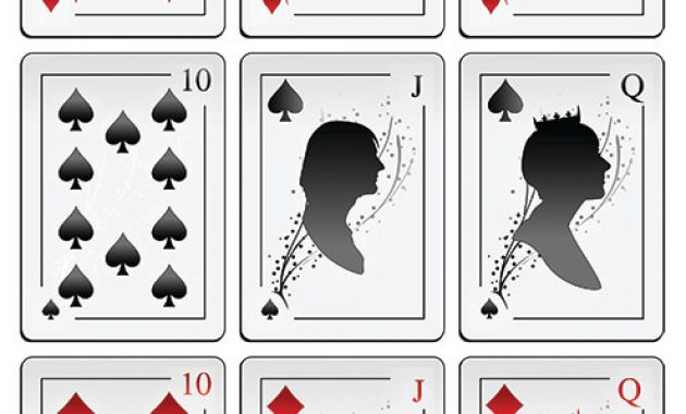 Deck Of Playing Cards With Silhouettes Printable Template regarding Free Printable Playing Cards Template