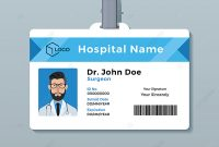 Doctor Id Card Template Medical Identity Badge Template For in Hospital Id Card Template