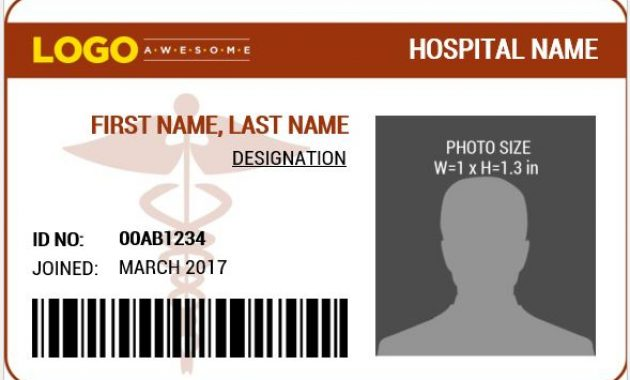 Doctor's Photo Id Badge Templates For Ms Word | Word & Excel with Hospital Id Card Template