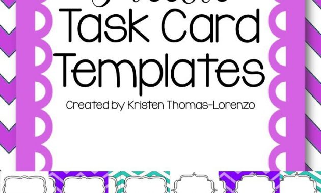 Download These Free Task Card Templates To Use In Your Free with Task Cards Template