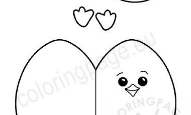 Easter Egg Chick Craf Craft Template – Coloring Page with Easter Chick Card Template