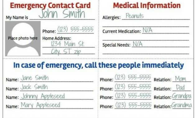 Emergency Contact Card | Contact Card Template, Contact Card inside Emergency Contact Card Template