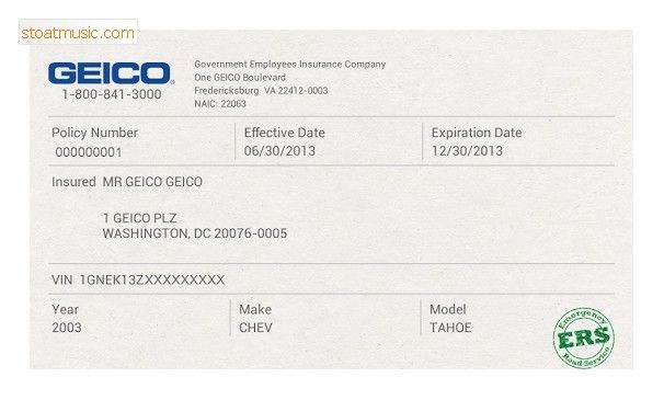 Fake Geico Insurance Card Template Stoatmusic In Insurance In Proof Of Insurance Card Template