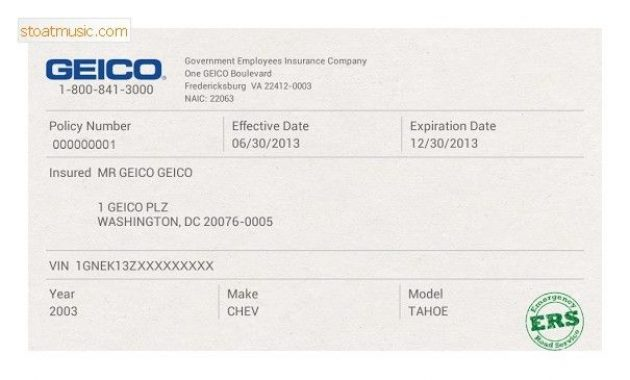 Fake Geico Insurance Card Template Stoatmusic In Insurance throughout Fake Car Insurance Card Template