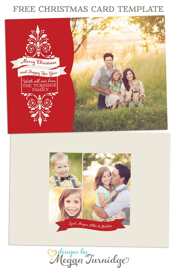 Free Christmas Card Template - Free Layered Psd And Tif for Free Christmas Card Templates For Photographers