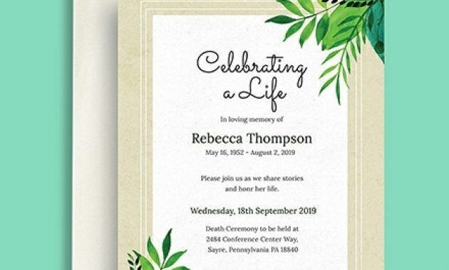 Free Death Ceremony Invitation Template – Word (Doc) | Psd within Death Anniversary Cards Templates