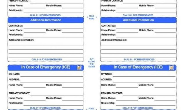 Free Printable Id Cards Templates | Contact Card Template intended for Emergency Contact Card Template