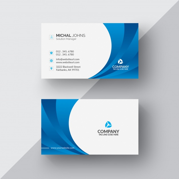 Free Psd | Blue And White Business Card With Psd Visiting Card Templates
