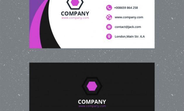 Free Psd   Purple Business Card Template regarding Calling Card Template Psd