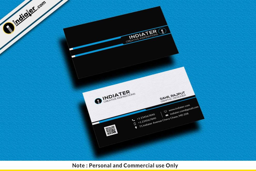 Free Simple Black Visiting Card Psd Template – Indiater Pertaining To Psd Visiting Card Templates