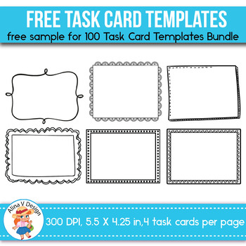 Free Task Card Templates Editable With Task Card Template