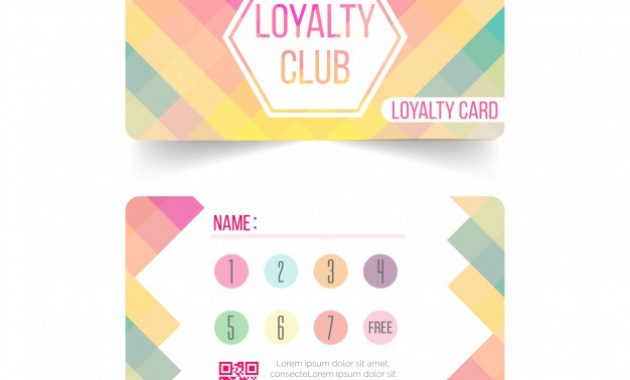 Free Vector | Colorful Loyalty Card Template With Flat Design with Loyalty Card Design Template