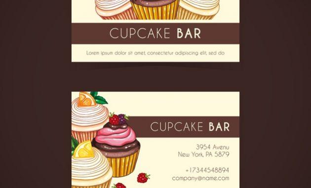 Free Vector | Watercolor Cupcake Business Card Template in Cake Business Cards Templates Free