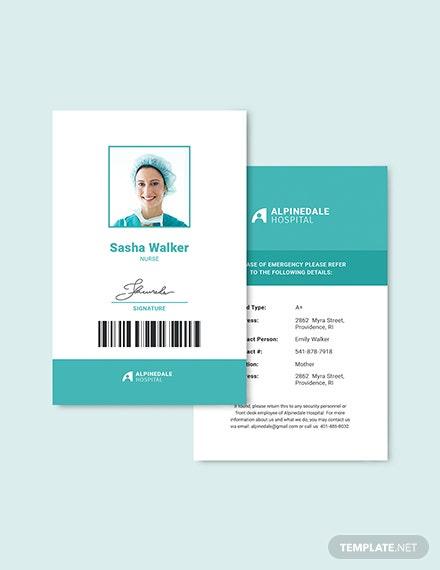 Hospital Staff Id Card Template - Word | Psd | Apple Pages in Hospital Id Card Template