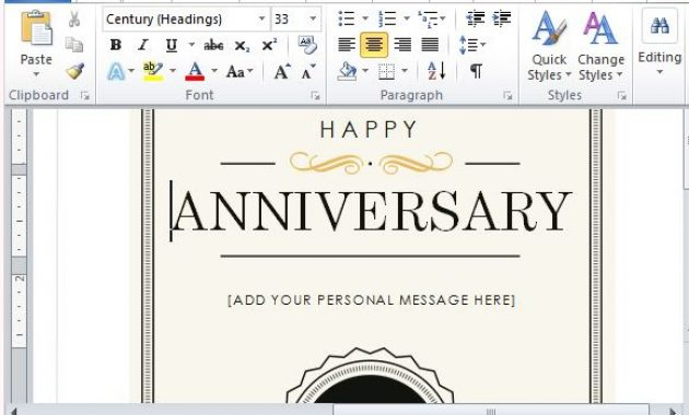 How To Create A Printable Anniversary Gift Certificate within Anniversary Card Template Word
