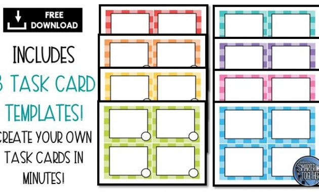 How To Engage Your Class Using Free Task Card Templates throughout Task Cards Template