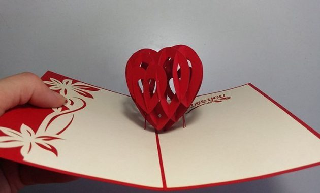 How To Make 3D Heart Valentine Day Pop Up Card – Paper with 3D Heart Pop Up Card Template Pdf