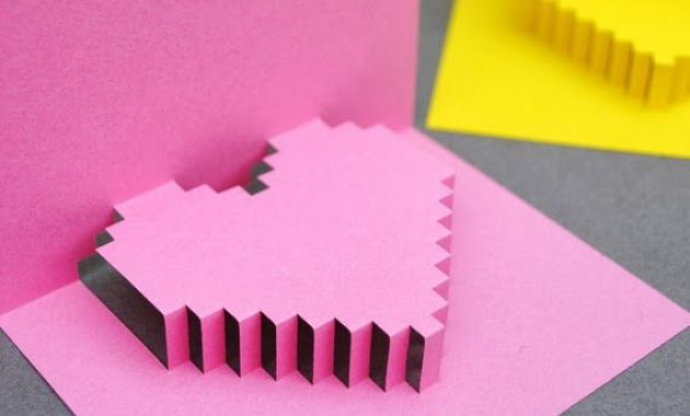 How To Make A Pixel Heart Pop Up Card? You Give It Your within Pixel Heart Pop Up Card Template