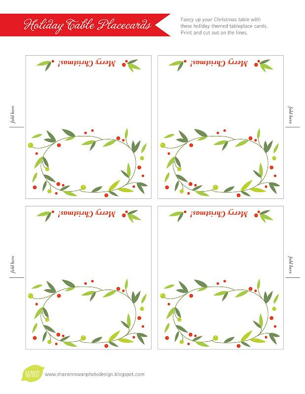Lemon Squeezy: Day 12: Place Cards | Christmas Cards Free regarding Christmas Table Place Cards Template