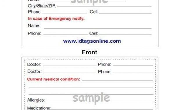 Medical Emergency Wallet Card For Medical Alert Id Bracelets within Emergency Contact Card Template