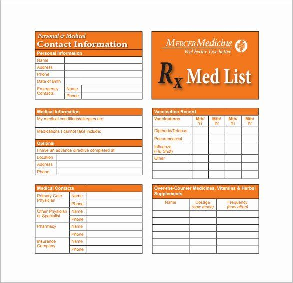 Medication Card Template Unique 8 Medication Card Templates within Medication Card Template