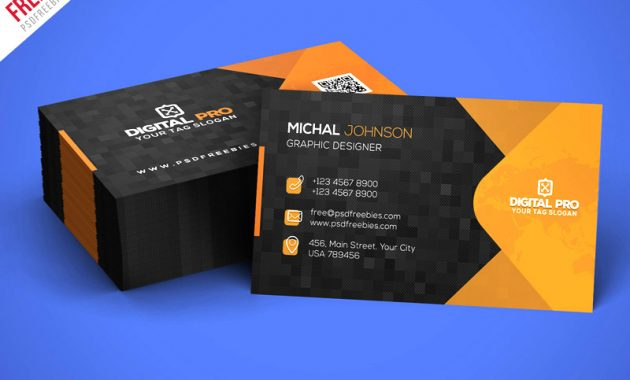 Modern Corporate Business Card Template Psd – Uxfree Inside Psd Name Card Template