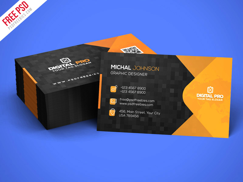 Modern Corporate Business Card Template Psd – Uxfree Inside Psd Name Card Template